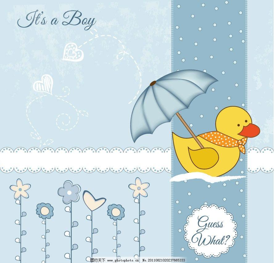 可爱时尚花纹卡通小鸭背景图片