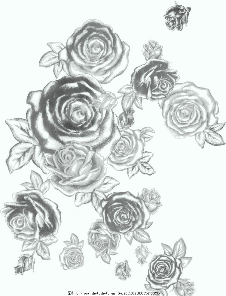 花玫瑰 矢量花 玫瑰花 网点格式 ps分层 600分辨率 源文库 素描花纹