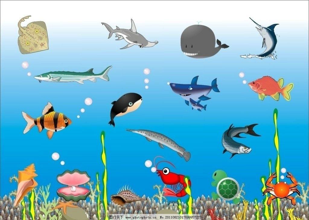 海洋生物 海鱼 海螺 珍珠 珊瑚 虾 蟹 鲸鱼 鲨鱼 海星 海草 贝壳 海龟