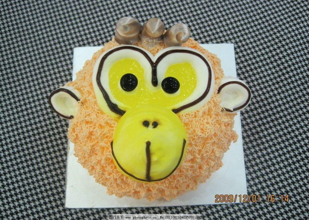 卡通猴子 蛋糕 面包 西餐美食 餐饮美食 摄影 180dpi jpg