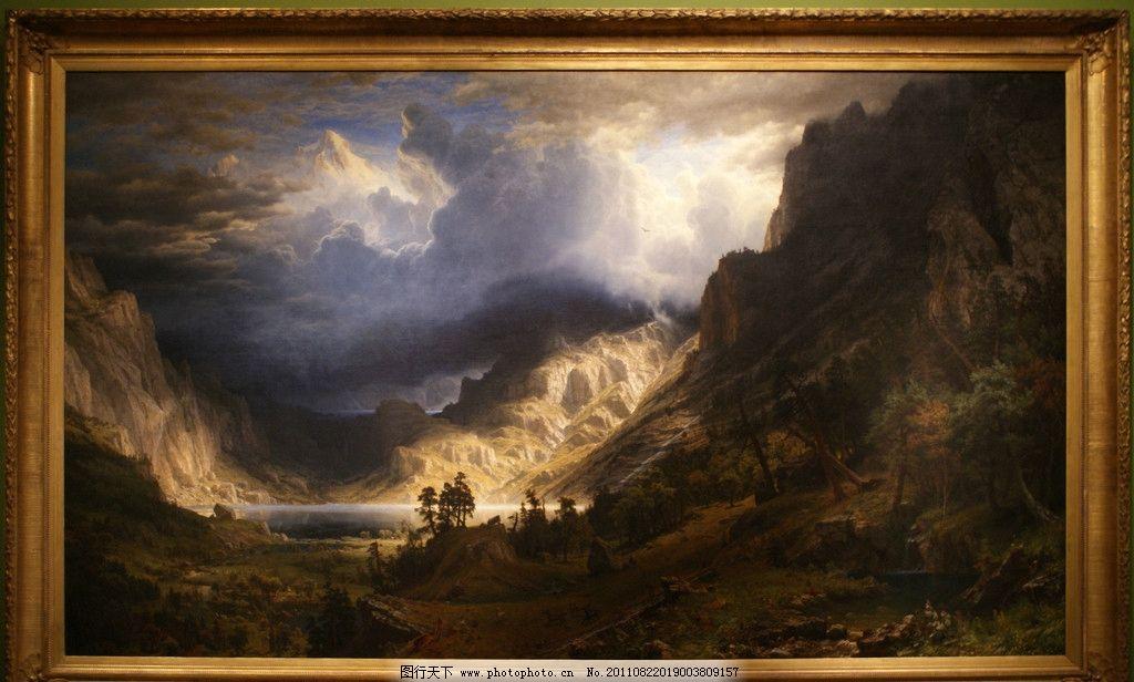 古典油画 油画 风景 艺术 绘画 树木 阿尔卑斯山 绘画书法 文化艺术