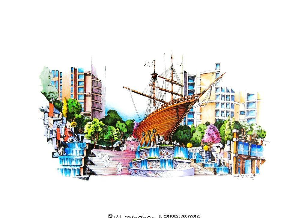图_园林喷泉手绘平面图_长方形景观喷泉效果图_广场喷泉手绘效果图
