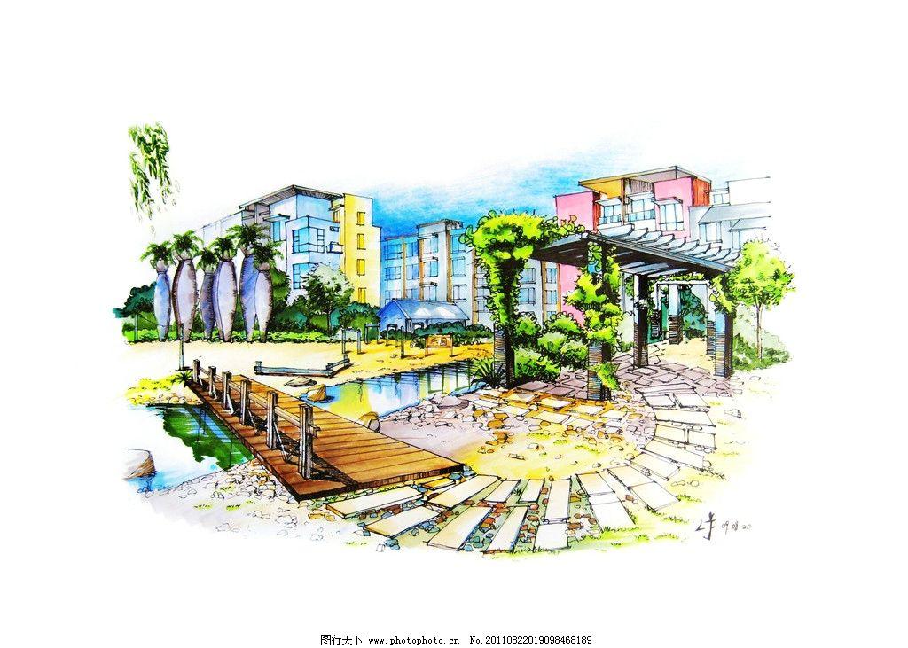 园林景观设计手绘稿 园林 景观 设计 手绘 水池 木桥 小区 绘画书法