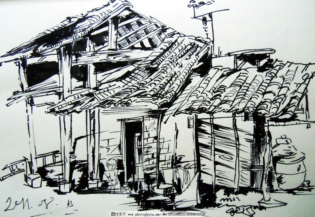 风景一角 钢笔画 房屋 风景 绘画书法 文化艺术 设计 300dpi jpg