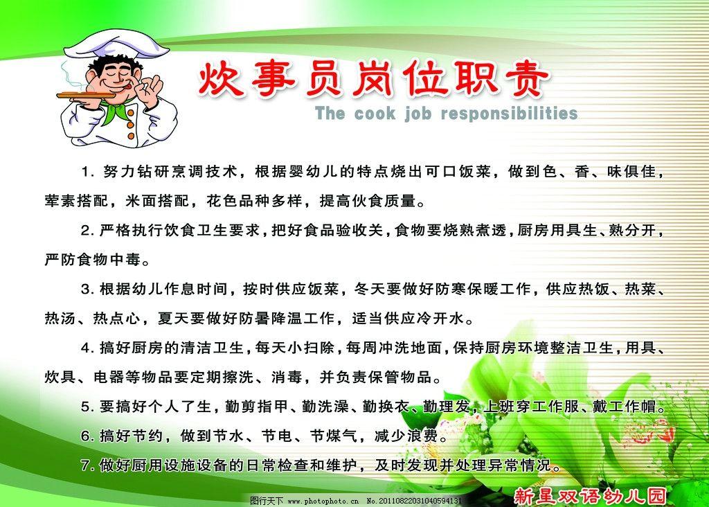 制度牌 制度模板 绿色展板 炊事员 幼儿园规章制度 炊事员岗位职责