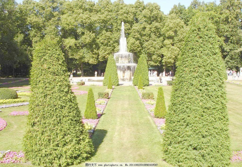 欧式花园 欧式园林 摄影 树 欧式花园图片素材下载 欧式花园 喷水池