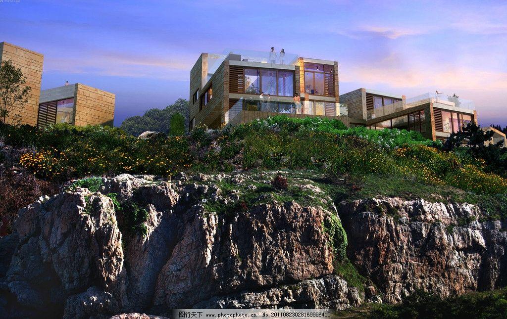 海边别墅区景观效果图图片_景观设计_别墅设环境地板铺装ps图片
