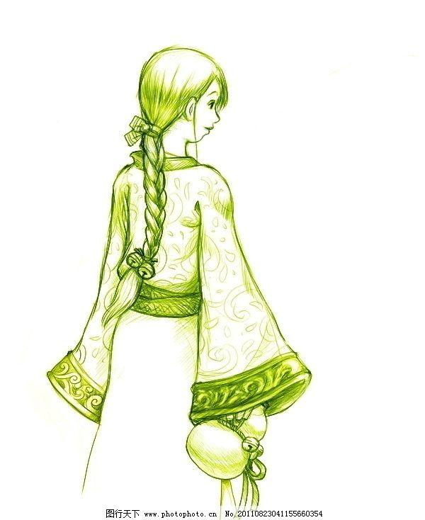 美女 背影 蓦然回首 插画设计 简笔画 漫画 矢量 妇女女性 矢量人物