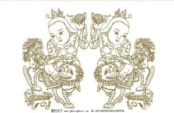 吉祥如意 矢量图案 狮子 狮子绣球 传统图案 中国风 中国传统 线描 古