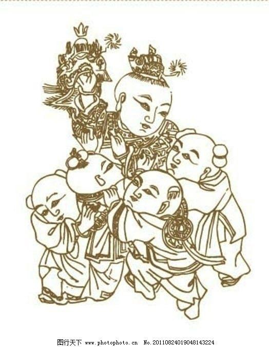 吉祥如意 矢量图案 百子图 嬉闹 玩耍 传统图案 中国风 中国传统 线描