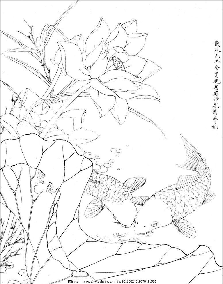荷花鲤鱼 工笔画 底稿 鲤鱼 绘画书法 文化艺术 设计 300dpi jpg