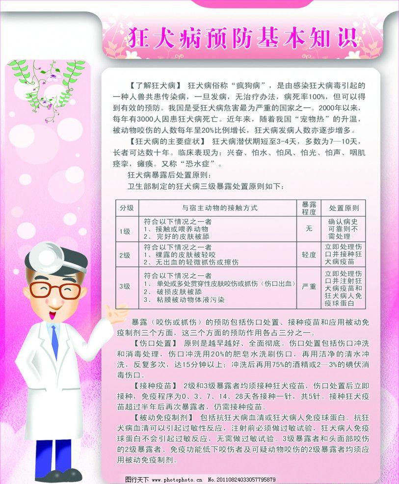 狂犬病预防知识 淡粉色背景 医生 树叶 圈圈 卡通 展板 医疗保险类 ps