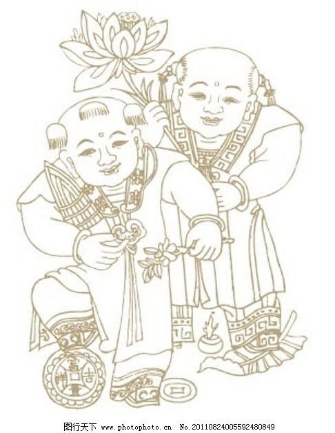 标志素材 吉祥如意 矢量图案 传统图案 荷花 中国风 中国传统 线描 古