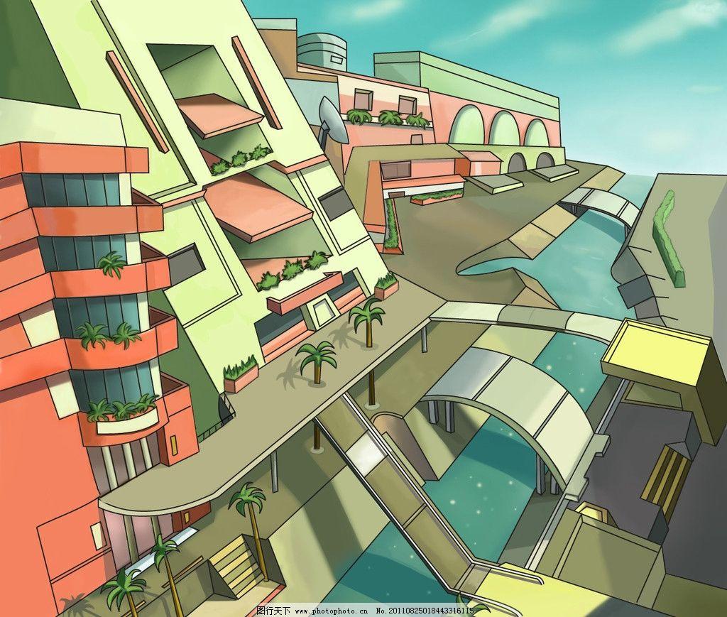 房子 河水 手绘 设计 艺术 卡通 插画 场景 蓝色 风景漫画 动漫动画
