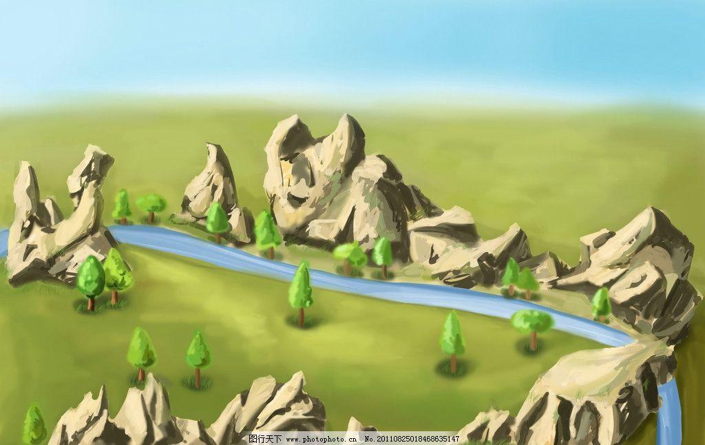 山水 风景 高山 树木 天山 河水 手绘 设计 艺术 卡通 插画 场景 蓝色
