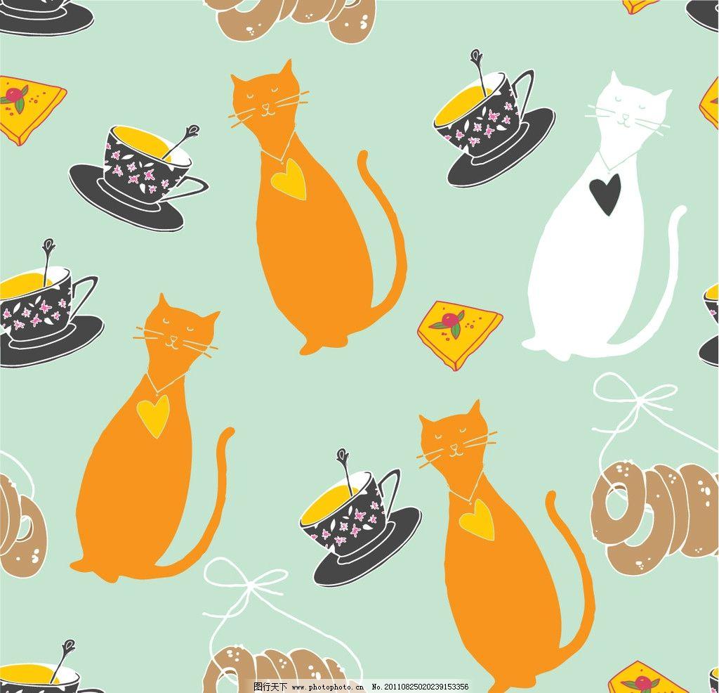 猫咪 小猫 猫 咖啡 卡通 卡通背景 矢量素材 eps 背景底纹矢量素材 底