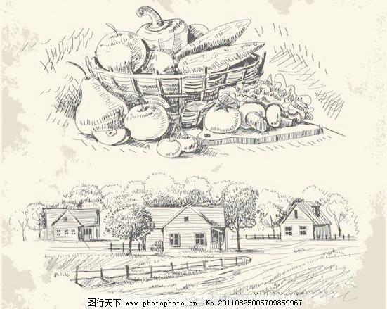 插画 速写 素描 房子 苹果 梨子 素材 番茄 辣椒 蘑菇 樱桃 蔬菜 矢量