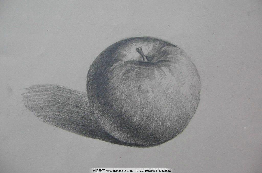 水果静物素描 苹果 美术绘画 摄影图片