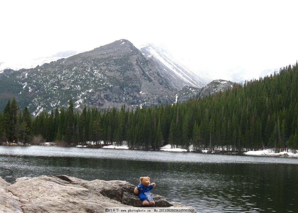 阿尔卑斯山 落基山 山峦 岩石 雪山 森林 公仔熊 泰迪小熊 湖泊