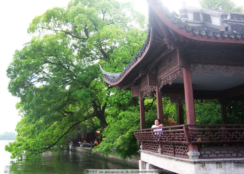 西湖 杭州 凉亭 绿树 亭子 园林建筑 建筑园林 摄影