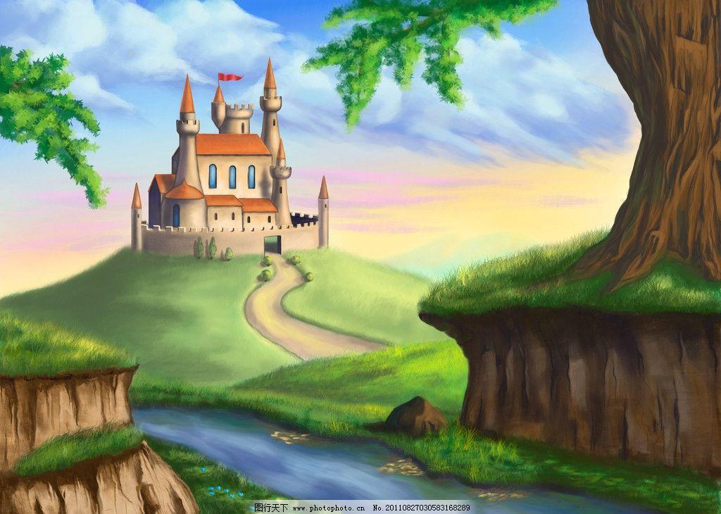 童话背景 童话世界 小溪 城堡 堡垒 古堡 仙境 花草 草地 绿地 美景