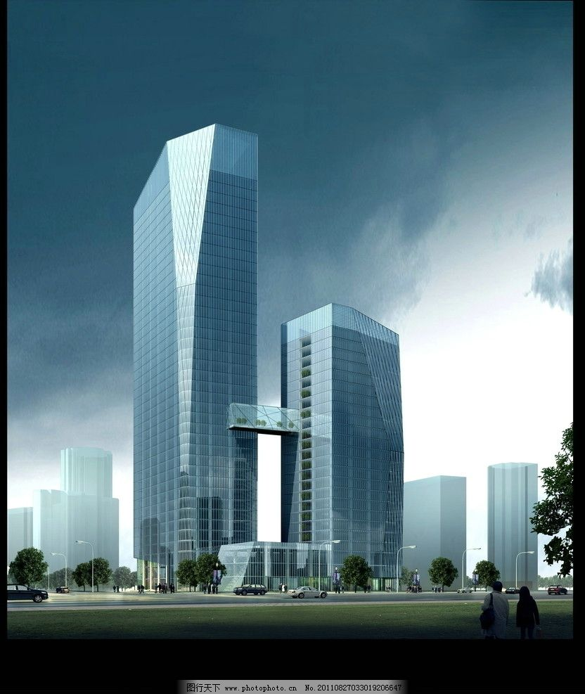 建筑外立面 psd文件 车流 行人 公路 建筑群 景观效果图 景观设计 3d