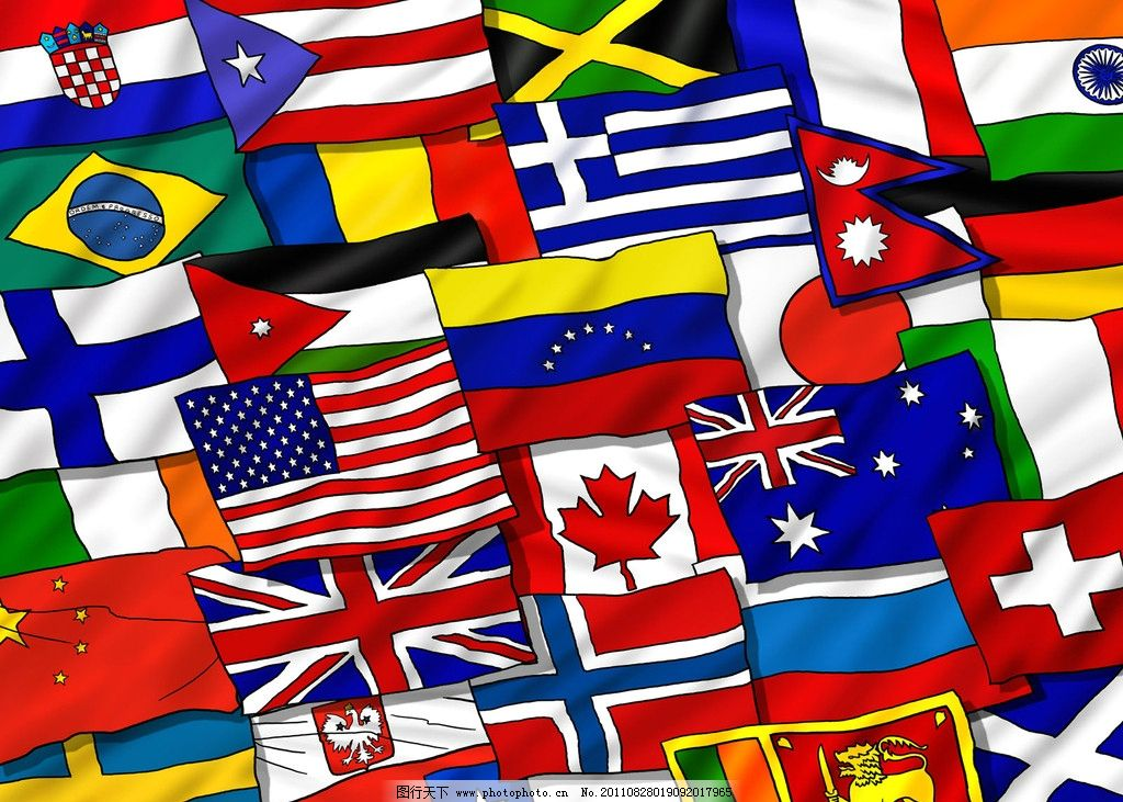各国国旗 国旗 手绘风格 绘画书法 文化艺术 设计 300dpi jpg
