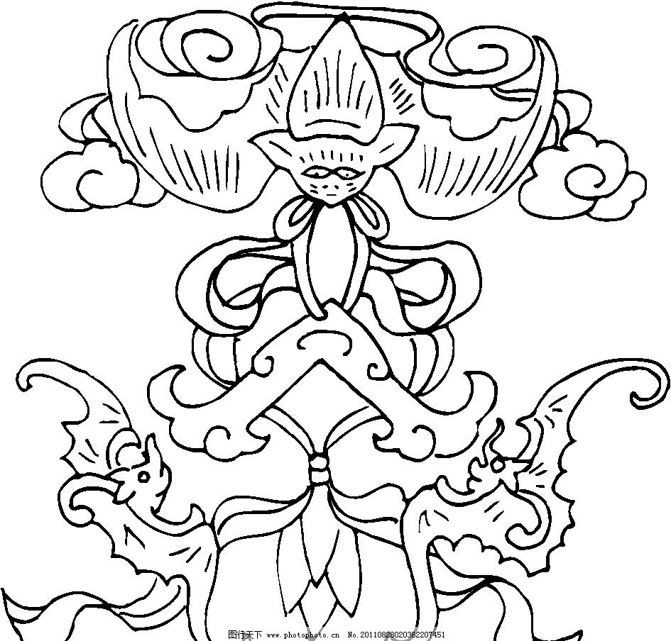 中国图案 底纹花纹 矢量图案 矢量素材 纹样图案 功名富贵 蝙蝠 吊坠