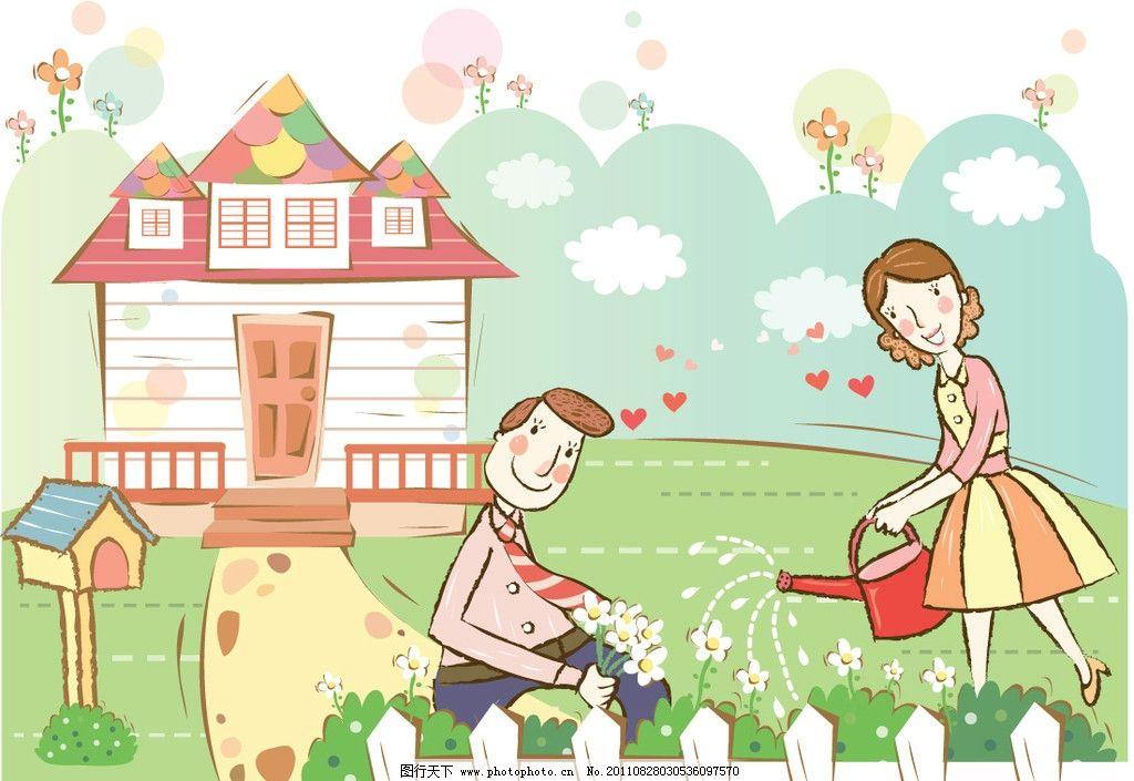 卡通人物图片,男性 女性 喷水壶 花园 邮箱 茶杯-图行