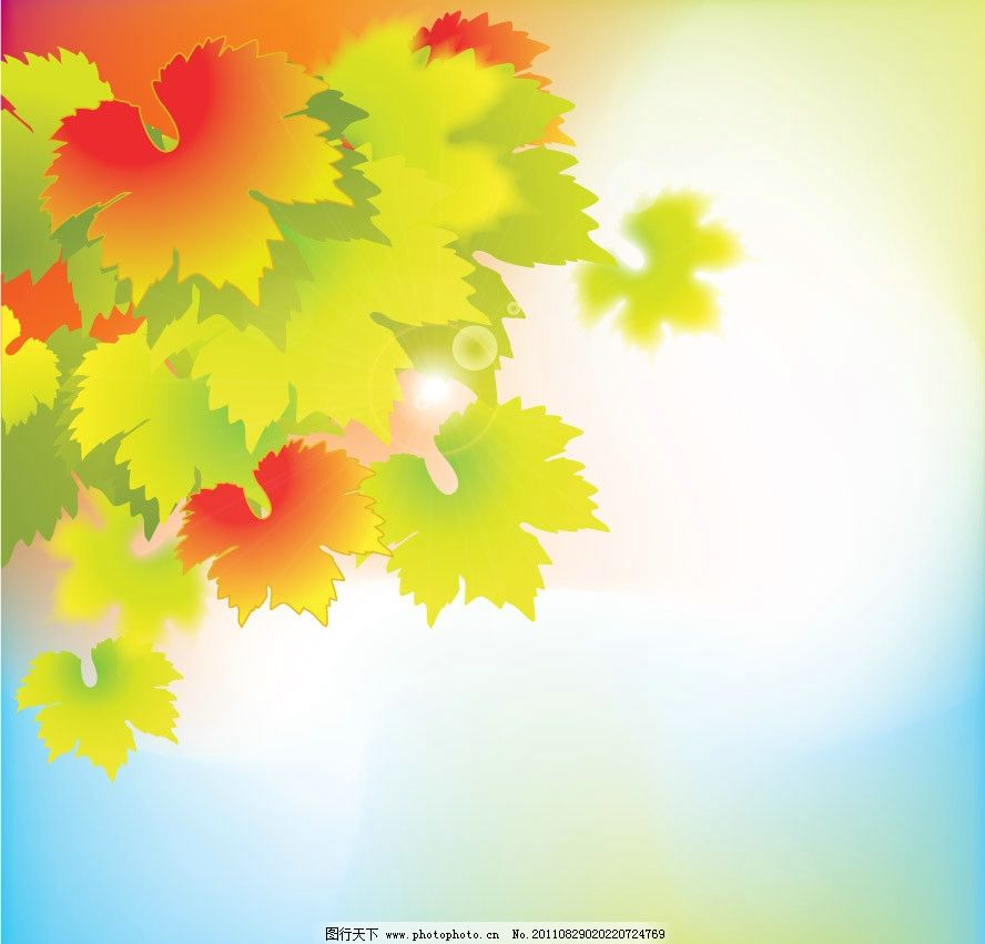 秋天枫叶梦幻背景 枫叶 绿叶 红叶 树叶 飘零 飘落 动感 时尚 潮流 梦