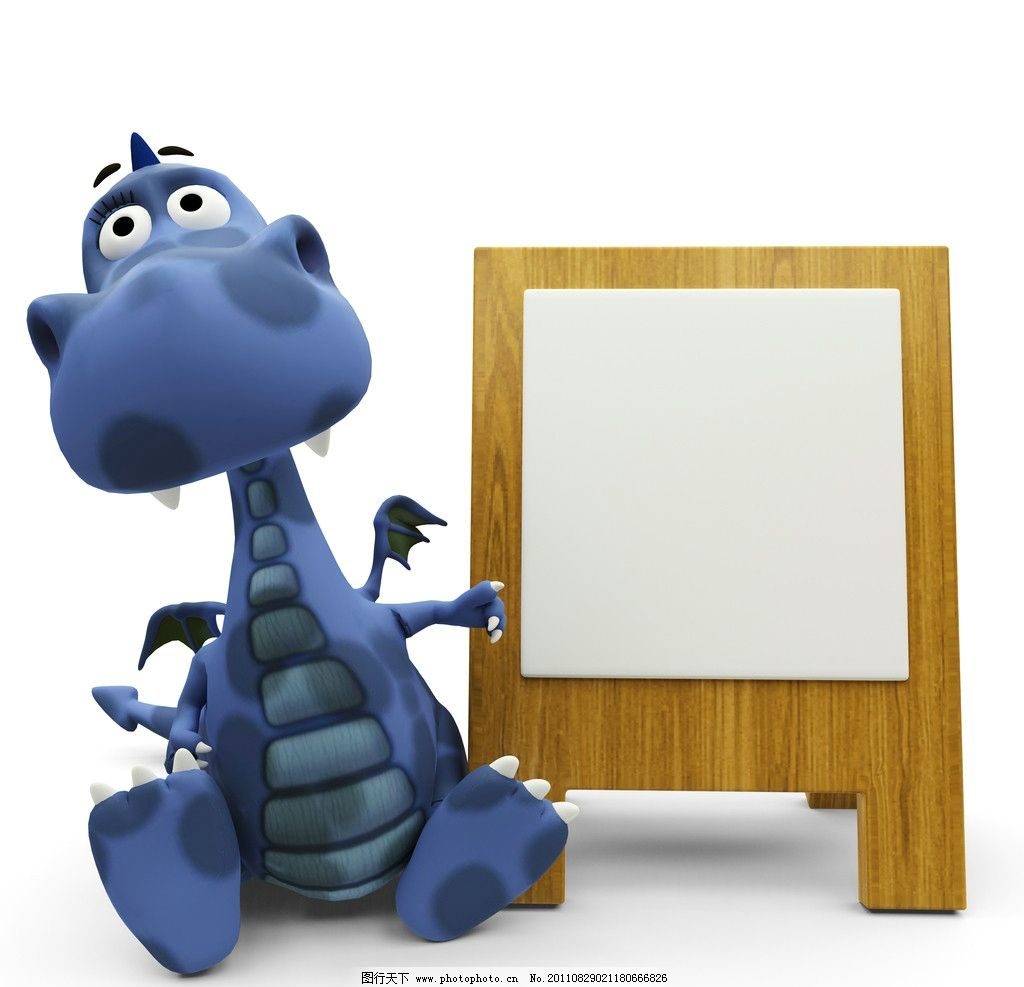 恐龙 漫画 广告牌 白板 卡通动物