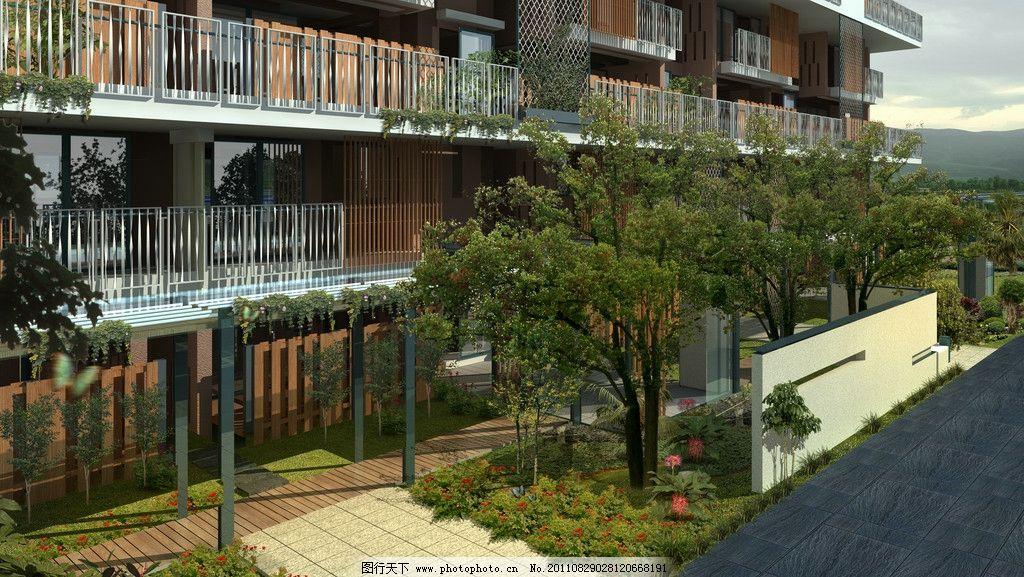 小区庭院景观效果图图片_景观设计_环境设计_图行天下