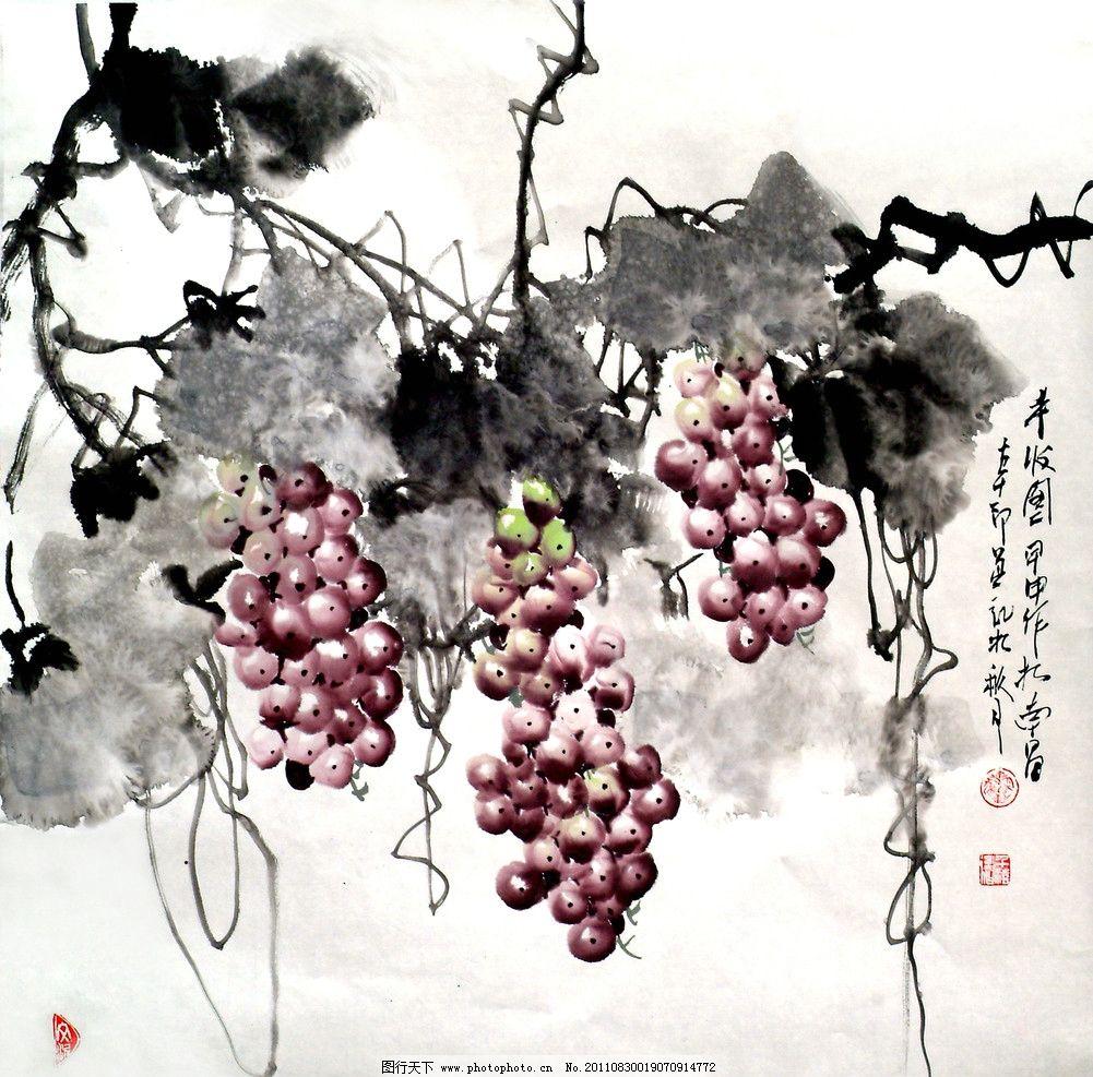 葡萄水粉画图片