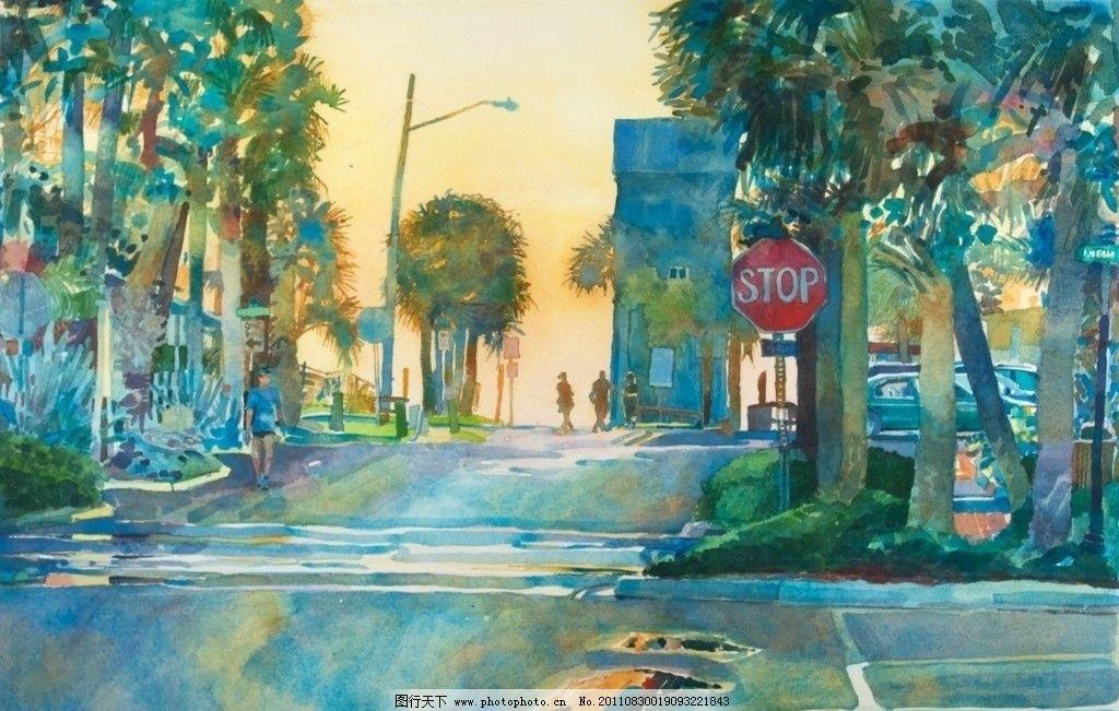 乡村街道水彩画图片