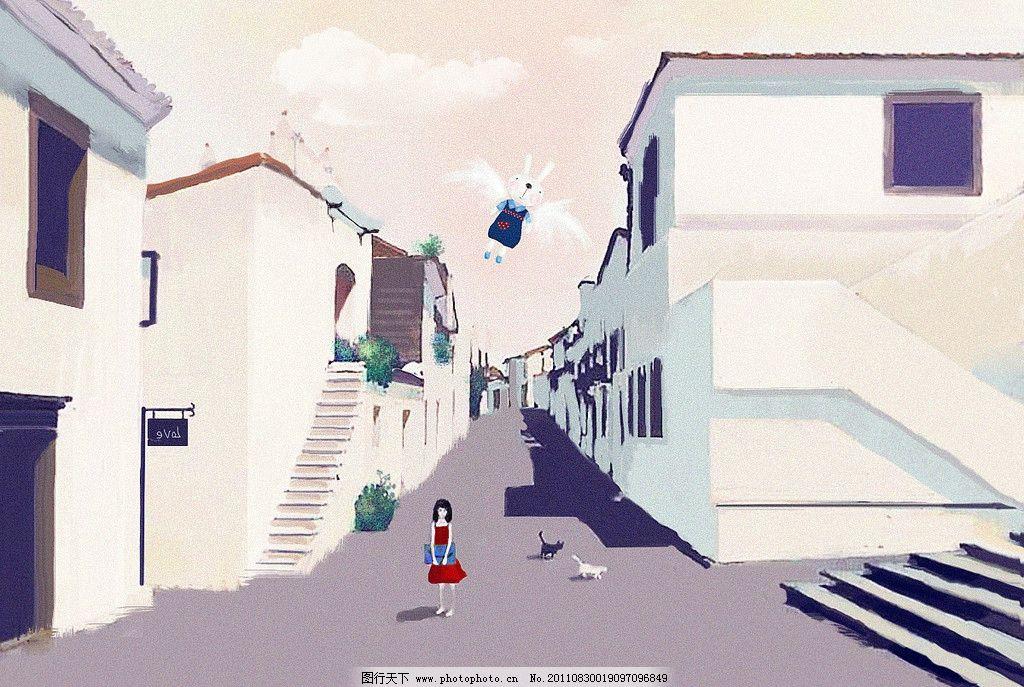卡通女孩 插画 手绘 兔子 街道 房屋 绘画书法 文化艺术