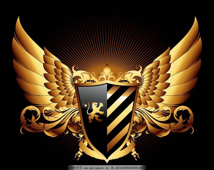 金色欧式花纹盾牌翅膀图片