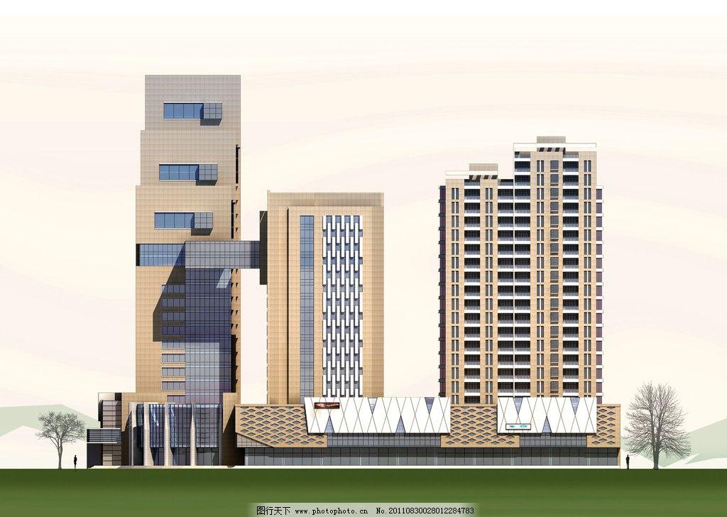 建筑侧立面 商务酒店 立面 现代风格 建筑设计 环境设计 设计 72dpi