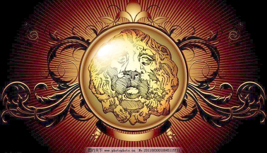 金色欧式花纹盾牌图片