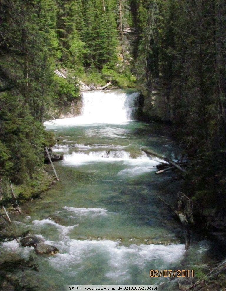 小溪 树林 石头 瀑布 流水 风光 自然风景 旅游摄影 摄影 72dpi jpg