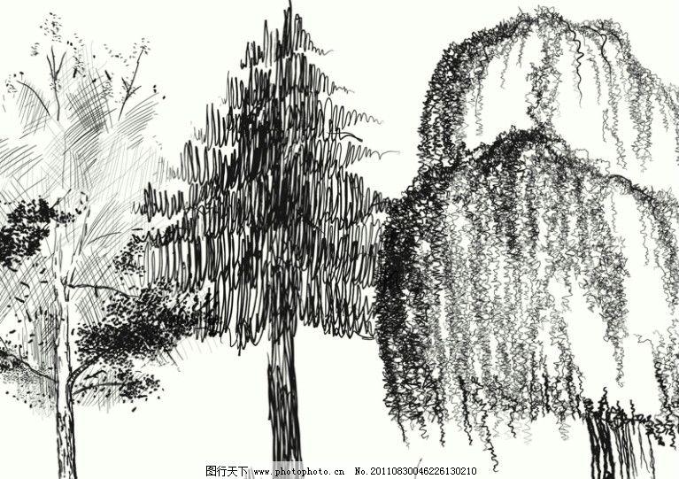 版画树木笔刷 树笔刷 版画树 艺术 国画 雕刻画 雕刻 树枝 大树 树木