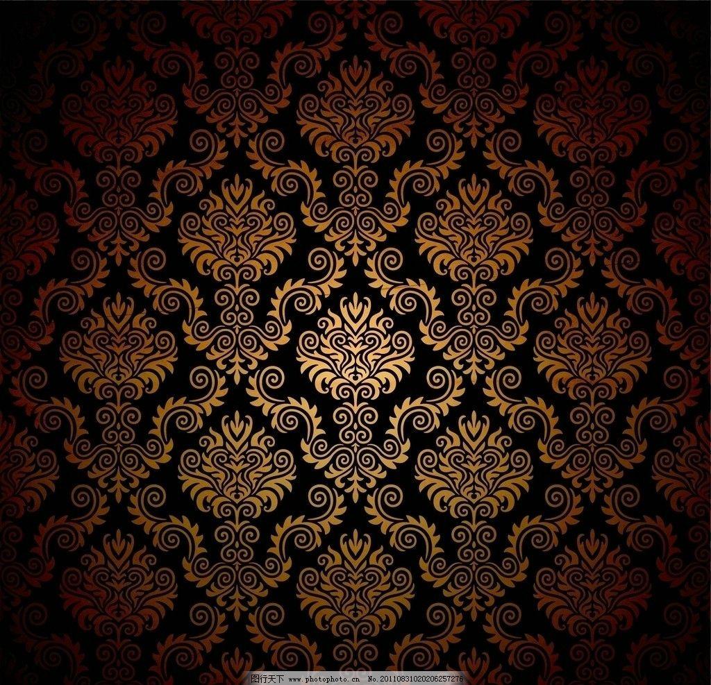 欧式花纹墙纸 复古怀旧背景