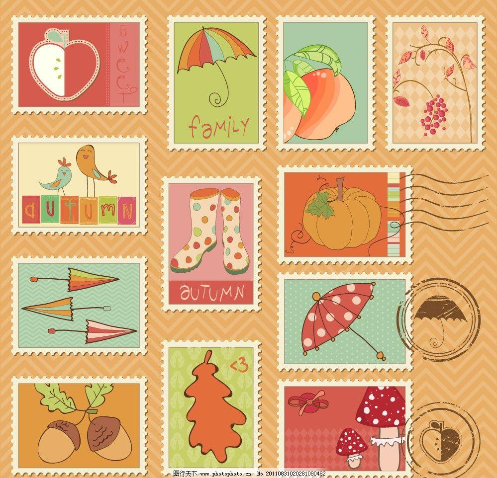 怀旧邮票邮戳矢量图片