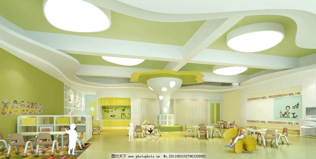幼儿园效果图 幼儿园        大厅 课桌 幼儿园模型 手绘墙 环境设计