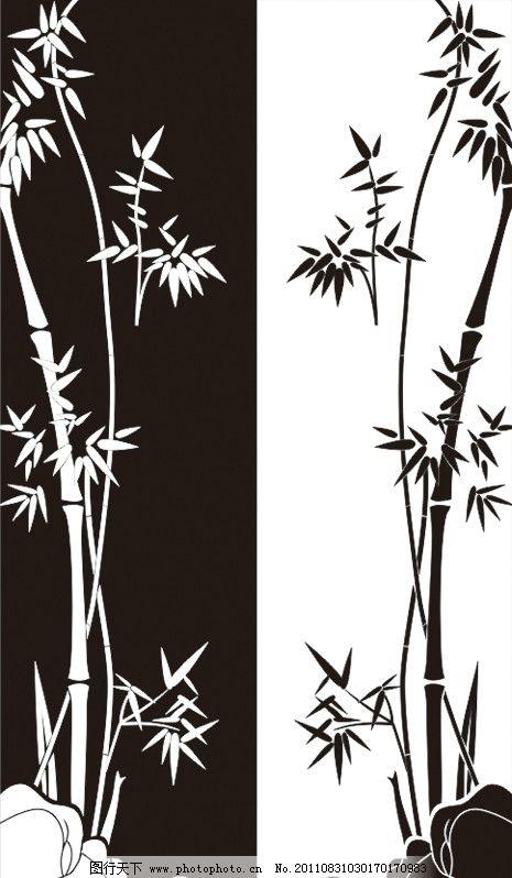 黑白竹子图片