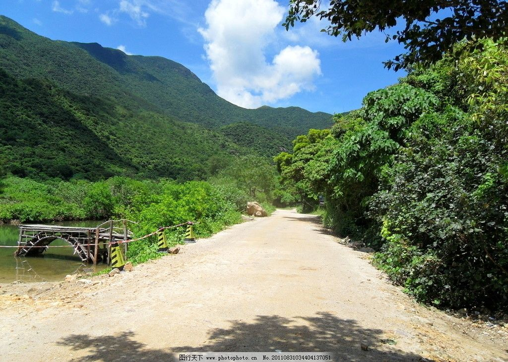 山水风景 山 水 蓝天 白云 青山 绿水 阳光 天空 树木 山峰 去朵 马路