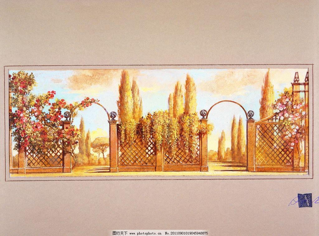 美术绘画 铁门 花草 树木 欧美装饰墙画 印象油画 写实油画 风景油画