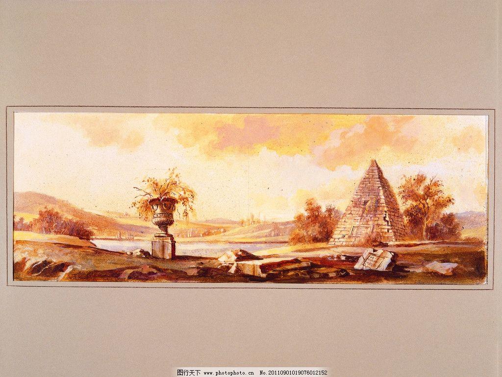树木 小山 沙荒 水 印象油画 写实油画 风景油画之欧式风格 绘画书法图片