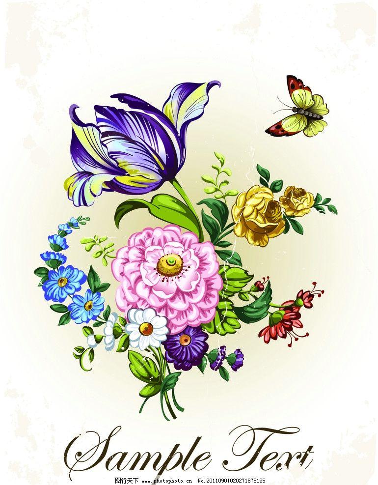 手绘花卉花朵背景图片,牡丹 蝴蝶 花纹 叶子 古典-图