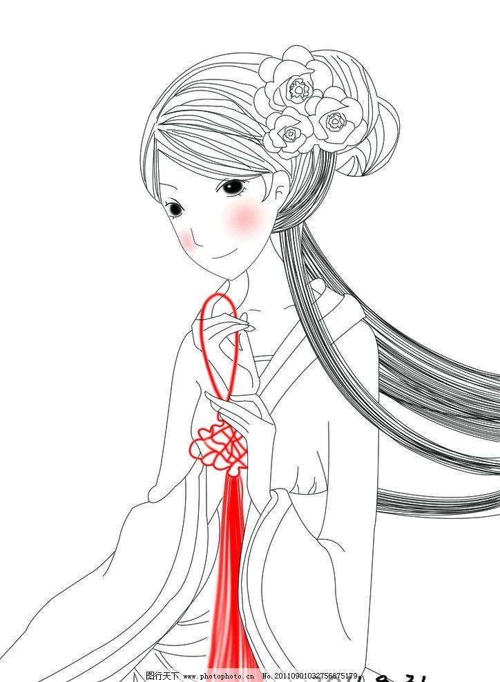 鼠绘古代美女 古代女子 美女 嫦娥 发髻 中国结 女孩 中秋 鼠绘 人物
