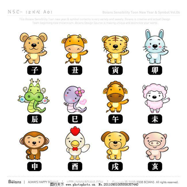 矢量动物12生肖